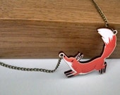 Red Fox wood charm necklace