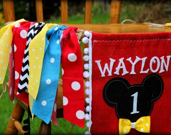 Mickey Mouse Highchair Banner Birthday Clubhouse Garland MICKEY Highchair Childrens Name Banner I am One High Chair Burlap First Birthday