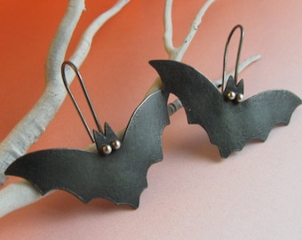 Black Bat Earrings,  Halloween Earrings, Sterling Silver And Copper Mixed Metal Earrings, Goth Jewelry, Bat Jewelry, Nature Earrings,