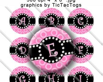 Pink Polka dot Bling Bottle Cap Images Digital Inch Circle Alphabet Alpha A-Z Images 4X6 - Instant Download - BC463
