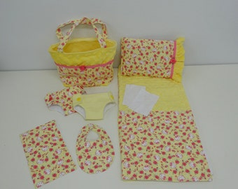 Bitty Baby Basics in Hello Kitty Roses - Diaper Bag and Diapers with Blanket and Pillow