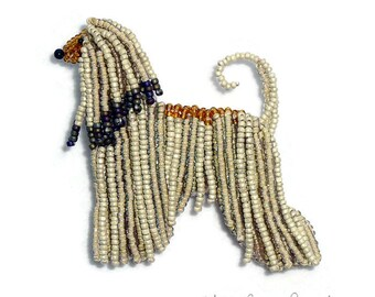 AFGHAN HOUND pin beaded dog animal art pendant necklace - Gift for Her (Made to Order) Free US Shipping