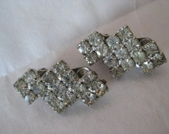 Rhinestone Silver Earrings Clip Vintage Clear