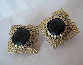 Black Gold Filigree Earrings Clip Vintage Glass Faceted