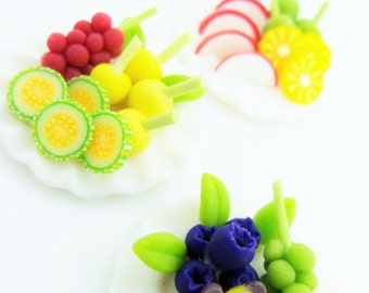 Miniature Fruits Polymer Clay Supplies for Dollhouse Collection and Bakery Jewelry, set of 3 pieces