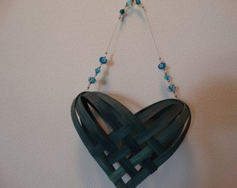 Hand Woven Basket Heart in Dark Turquoise  with beaded handle.  Hand made baskets in fun colors.