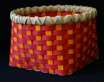 Hand Woven Basket in Cherry Red and Sunshine Orange. Storage Basket. Hand woven baskets in fun colors!