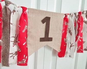 Sock Monkey High Chair Banner -Fabric Bunting Birthday Banner Cake Smash Photo Prop Birthday decoration Sock Monkey Rag tie Garland