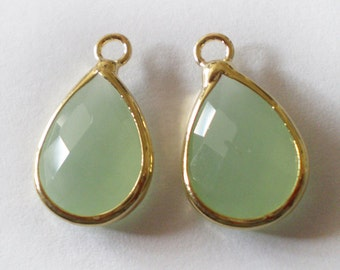 18x11mm Faceted Seafoam Green Gold framed Glass teardrop - 2pcs