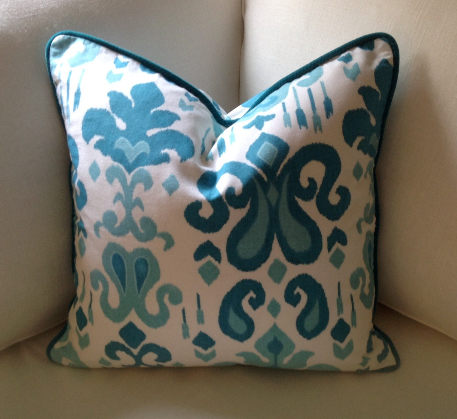 Ikat decorative pillow cover turquoise sofa pillow cover