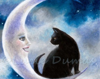 Art print 4x6 or 5x7 black Cat 580 moon fantasy painting by Lucie Dumas
