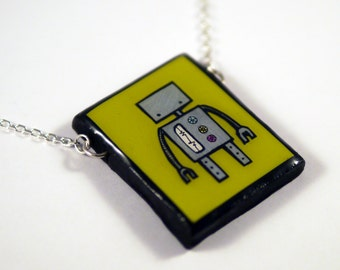 Green Robot Necklace