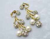 Long Rhinestone Pearl Earrings Vintage Jewelry E6385