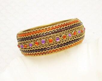 Wide Vintage Bangle Bracelet Beaded Bracelet B6153