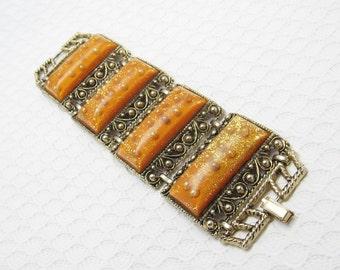 Wide Glitter Lucite Bracelet Selro 1950s Vintage Jewelry B6279