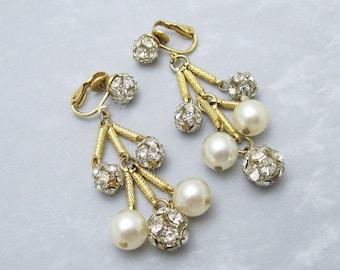 Long Rhinestone Pearl Earrings Vintage Jewelry E6385