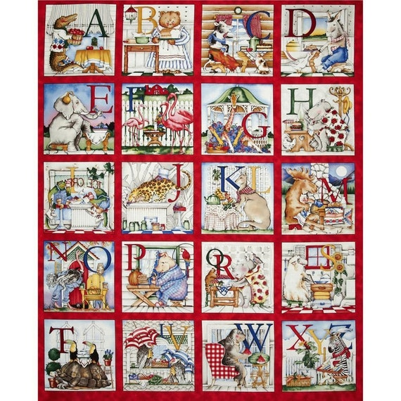 Quilting Treasures Hungry Animal Alphabet 100 Cotton