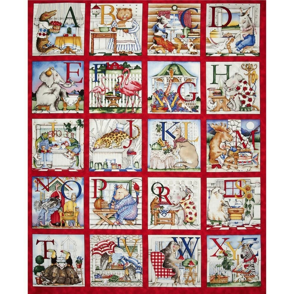 Quilting Treasures Hungry Animal Alphabet 100 Cotton Block