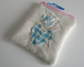 NEW square zipper pouch applique hearts, padded and lined linen and cotton