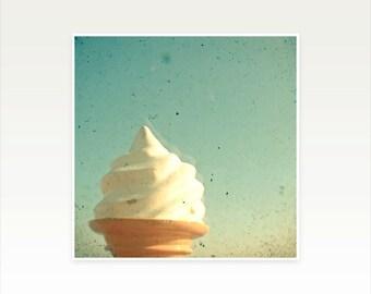 CLEARANCE SALE! Food Photography, Seaside Art, Ice Cream Art, Cream and Green Blue Decor, Kitchen art - Ice Cream