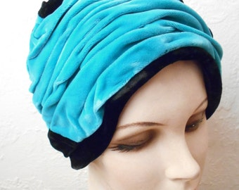 vintage Dramatic Soft Velvet Teal Blue and Jet Black Velvet Hat