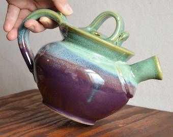 Ceramic teapot handmade, tea serving stoneware pottery, hostess entertaining, glazed in purple green, handmade by hughes pottery