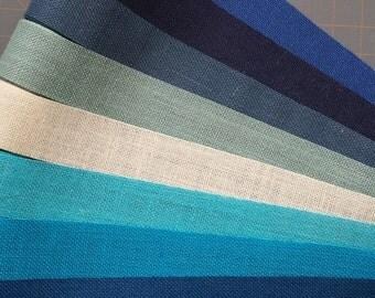 4 inch BLUE Burlap Ribbon -  3  yards