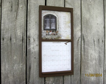 12 x 24 calendar wood frame holder in warm roasted coffee brown new square