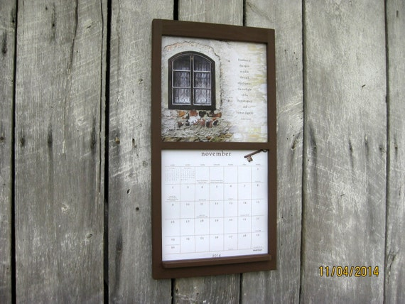 12 x 24 calendar wood frame holder in warm by sugarshackshoppe. Black Bedroom Furniture Sets. Home Design Ideas