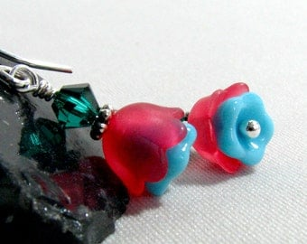 Flower Dangle Earrings Blue Red Sterling Silver Filled