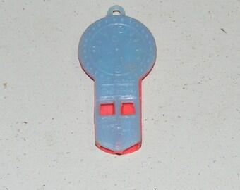 Vintage Tick Tock Clock Whistle Plastic Cracker Jack or Gumball Machine Charm