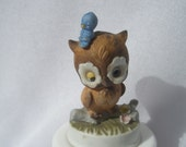 Napcoware Whimsical Big Eyed Owl Cute Small Statue Figurine w/ Original Sticker