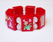 Red Mahjongg Bracelet with White Crystals / Flower Tile / Mah Jong / Mahjong / Mah Jongg / Mahjongg / Chinese / Red / Asian / Jewish / Game