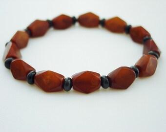 Black Onyx / Horn / Resin / Black / Brown / Natural / Neutral / Bracelet / Simple / Stretch / Stacking / Tribal / Ethnic / Bohemian