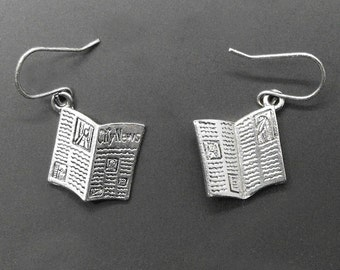 Wedding Gifts For Journalists : Newspaper Earrings Reporter Editor Jounalist Newshound News Jewelry
