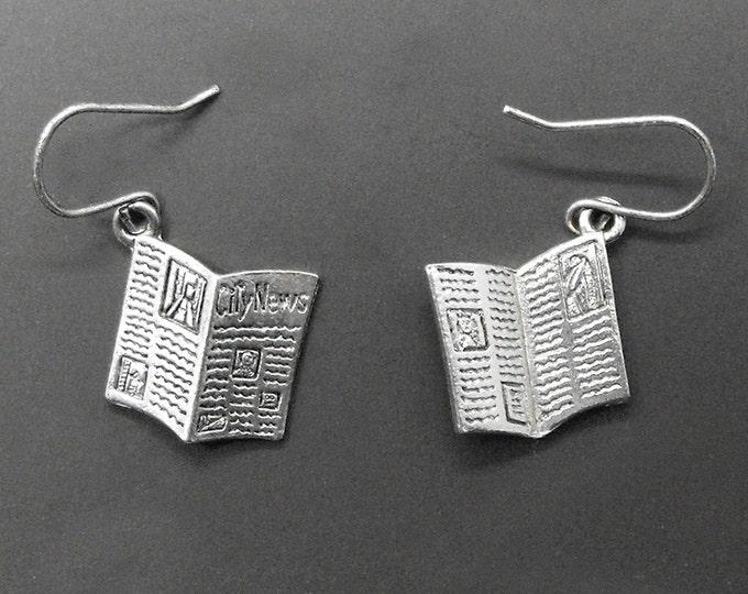 Newspaper Earrings Reporter Editor Jounalist Newshound News Jewelry