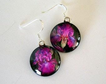 Iris Jewelry Earrings Purple Iris Art Round Glass Swingtown