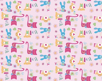 Cute import knit  1 1/2 yard bunnies and kitties