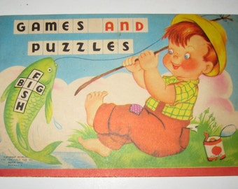 Vintage (1953) Children's Coloring Booklet - Games and Puzzles