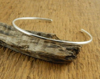 Thin sterling silver cuff, dainty and sturdy, handmade sterling silver cuff bangle bracelet.