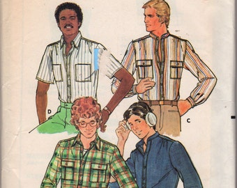 1970s Butterick 6308 Mens  Shirt with Detachable Collar Pattern Adult Vintage Sewing Pattern Chest 40 OR 42 UNCUT