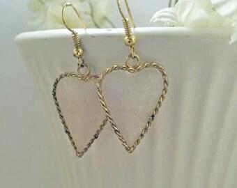 Shell Heart Gold Earrings