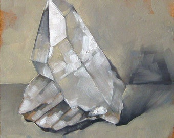"Faceted Quartz Crystal Painting, Original Oil Painting in Frame, Gemstone Painting, Gift for Naturalist - ""Monotone Quartz"""