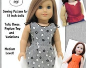 Tulip Dress and Variations - Doll Clothes Pattern for 18 inch Doll