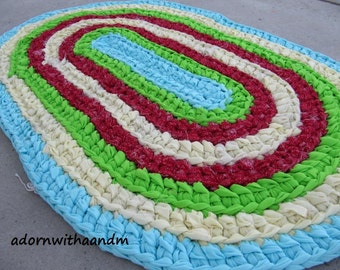 Retro 1950s crocheted oval shape rag rug, eco friendly, washable, bath mat, durable,  kitchen rug, home decor, red, turquoise, lime, yellow