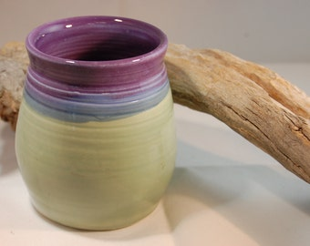 Pottery Tumbler,Purple With Light Green Glaze, Handmade, Serving, Wine