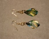 Lampwork Glass Green, Gold, Copper, Blue Leaf Fishhook Earrings