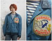 vintage 70s two tone blue leather varsity jacket with patches / leather letter jacket / blue letterman jacket