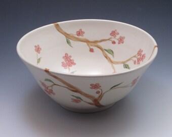 Pottery serving bowl, porcelain, handpainted in Cherry Blossom design