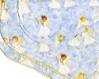 Glitter Angel Christmas Fabric Pre Cut for Stockings Large Angel Stocking to Sew Cute Angels Cotton Fabric Star Backing